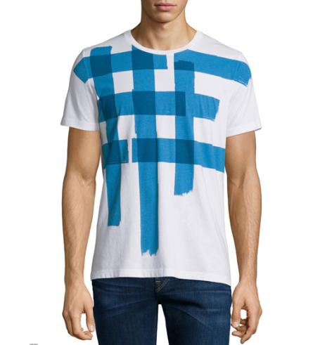 Burberry Brit Large Check-Print Short-Sleeve T-Shirt, White/Blue @ Neiman Marcus