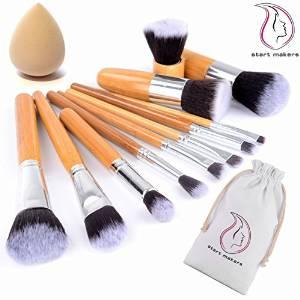 $9.85 Start Makers® 11pcs Makeup Brush Set - Natural Makeup Brushes - Cosmetics Tools - Bamboo Handles Makeup Brushes Set
