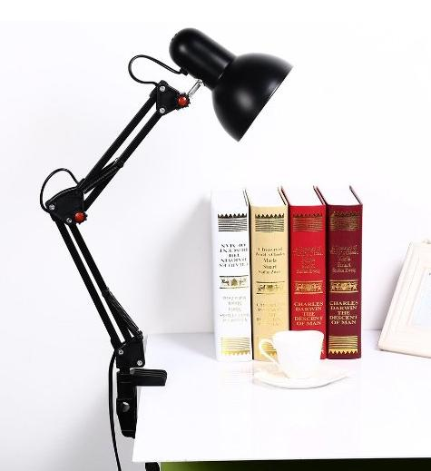Mr.Lighting 2-in-1 Metal Swing Arm Adjustable LED Desk Lamp, with 5W LED Bulb, Clamp-on Base, Black Finish
