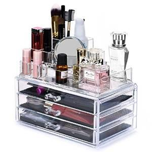 Makeup Storage Organizer,Oak Leaf Cosmetic Organizer and Jewerly Display Box - 3 Large Drawers Space- Saving,Clear,Stylish Acrylic Bathroom Case