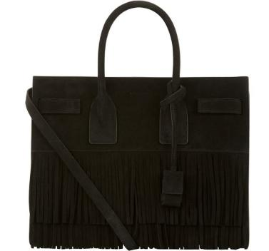 Saint Laurent Sac de Jour Baby Suede Fringe Satchel Bag