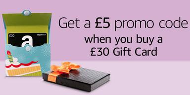 Free £5 Promo Credit With Purchase of £30 Gift Card @ Amazon.co.uk