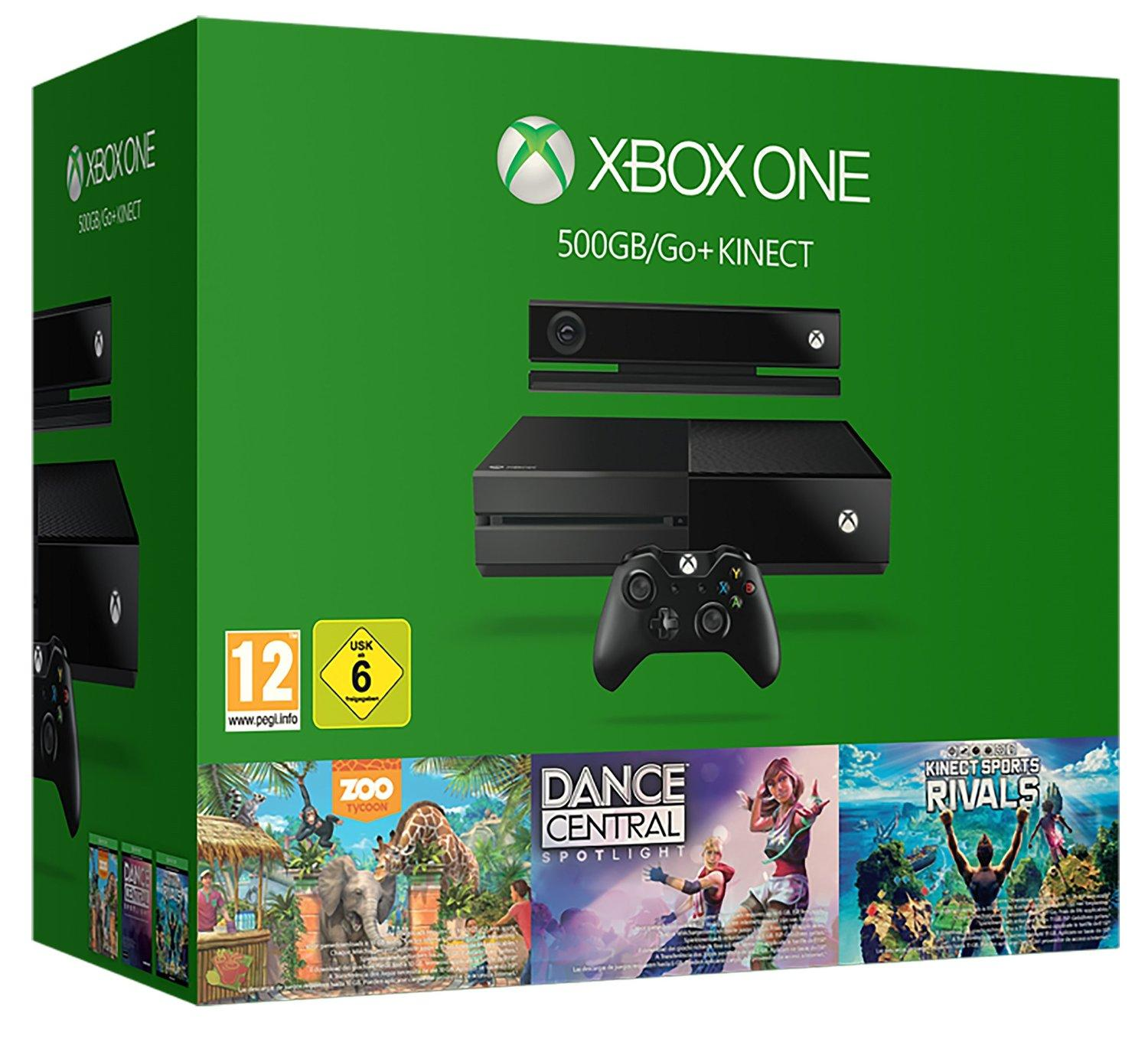 £209.99 Xbox One 500GB Console with Kinect - 3 Game Value Bundle (Kinect Sports Rivals, Zoo Tycoon and Dance Central)