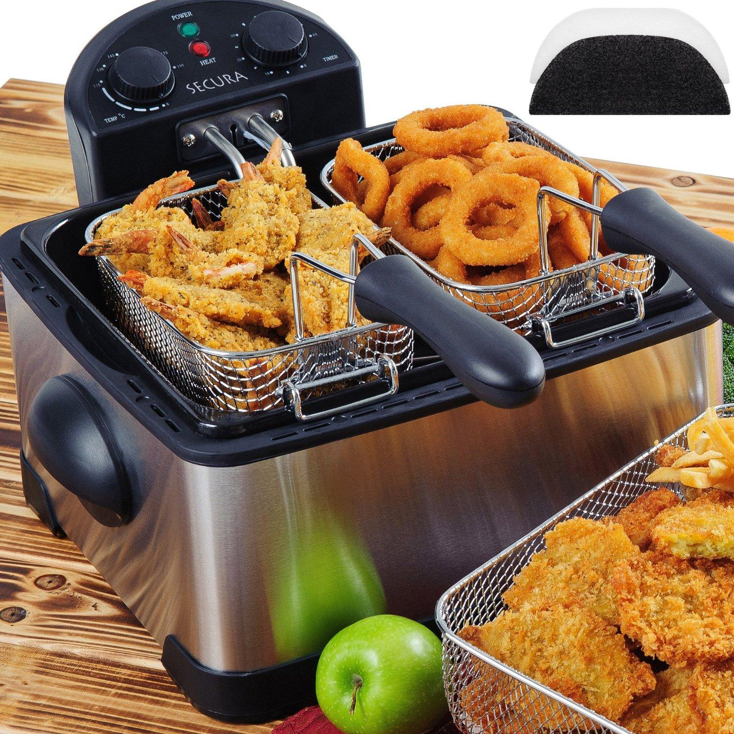Secura 4.2L/17-Cup 1700-Watt Stainless-Steel Triple-Basket Electric Deep Fryer
