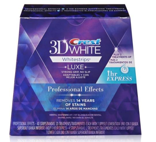 Crest 3D White Luxe Whitestrips Professional Effects 20 Treatments + Crest 3D White Whitestrips 1 Hour Express 2 Treatments