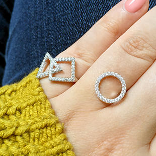 $29 Geometric Shapes Swing Ring with Cubic Zirconia