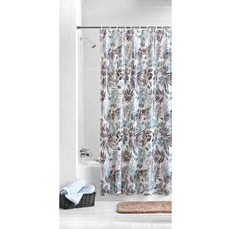 Mainstays Aqua Palm PEVA Shower Curtain