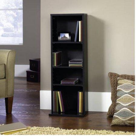 $5.99 Mainstays Multimedia Storage Tower, Black Oak Finish