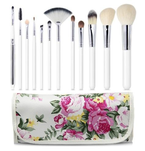 $7.64 EmaxDesign 12 Piece Professional Makeup Brush Set Goat Hair Wood Handle Foundation Blending Blush Eye Face Liquid Powder Cream Cosmetics Brushes Kits