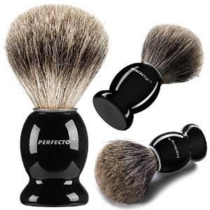 Perfecto 100% Pure Badger Shaving Brush With Black Handle