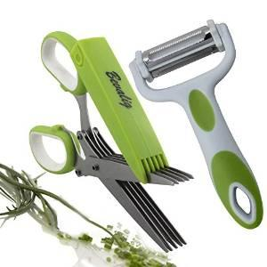 Herb Scissors with 3-in-1 Click N Peel Multipurpose Peeler - Julienne Vegetable Fruit