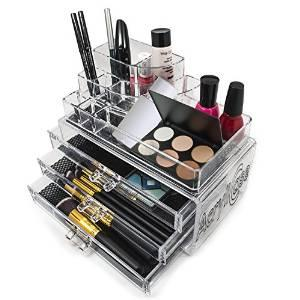 $12.99 Acrylic Makeup Organizer Cosmetic Display 3 Drawer Jewerly Makeup Case Lipstick and Brush Holder