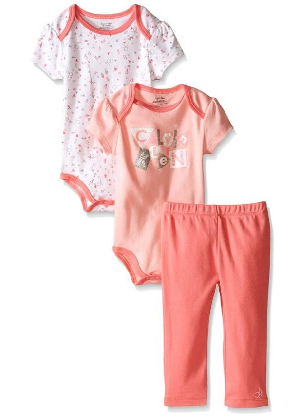 $4.14 Calvin Klein Baby-Girls 2 Printed and Solid Bodysuits and Combed Interlock Pants