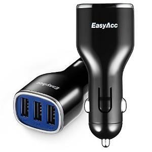 $3.69 EasyAcc Car Charger 24W 4.8A 3-Port for iPhone Samsung Android Smartphones Tablets-Black