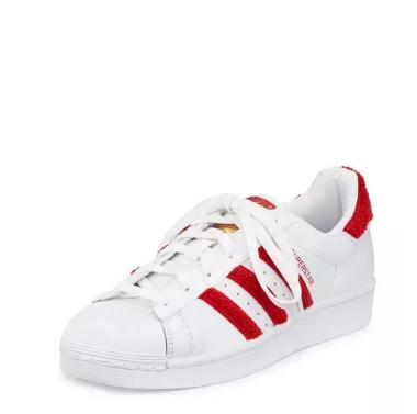 $85 adidas Superstar Classic Fashion Sneaker, White/Scarlet @ Neiman Marcus