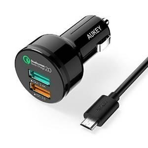 AUKEY 30W 2-Port USB Car Charger with Qualcomm Quick Charge 2.0 Technology & AiPower Adaptive Charging Technology