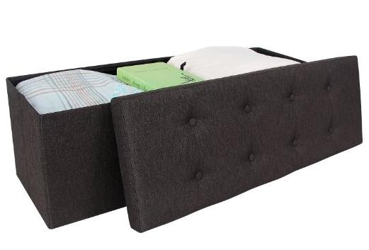 SONGMICS Linen-like Fabric Storage Ottoman Bench 43 1/4