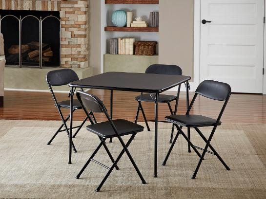 Cosco 5-Piece Folding Card Table and Chair Set, Black