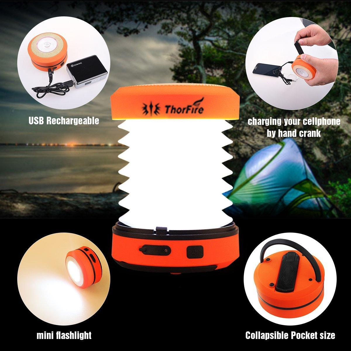 $5.99! ThorFire Camping LED Lantern w/ Collapsible Hand Crank + Cap Light