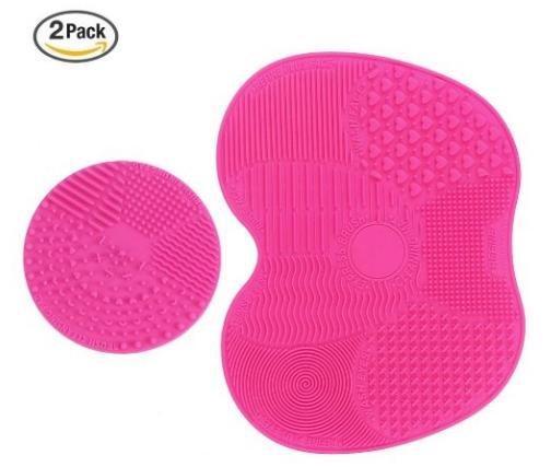 Makeup Brush Cleaning Mat, ESARORA Makeup Brush Cleaner Pad Set of 2 Cosmetic Brush Cleaning Mat Portable Washing Tool Scrubber Suction Cup