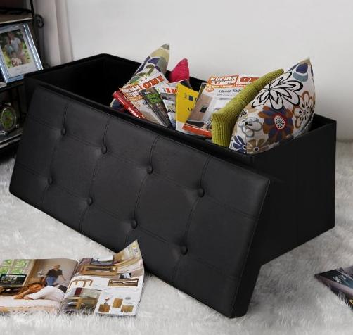 Songmics Faux Leather Folding Storage Ottoman Toy Chest Tunk Black 43 1/4