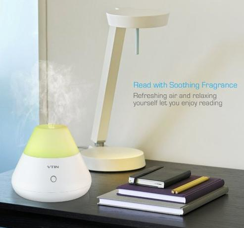 Vtin 120ml Aroma Essential Oil Diffuser with Adjustable Mist Mode, Waterless Auto Shut-off and 7 Color LED Lights Changing for Bedroom
