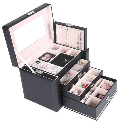 $30.59 Songmics Black Leather Large Jewelry Box Lockable Makeup Storage Case with Large Mirror Drawer UJBC04B