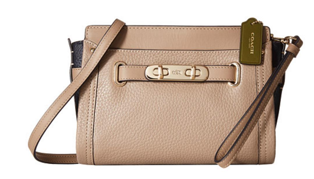 COACH Color Block Pebbled Leather Coach Swagger Wristlet