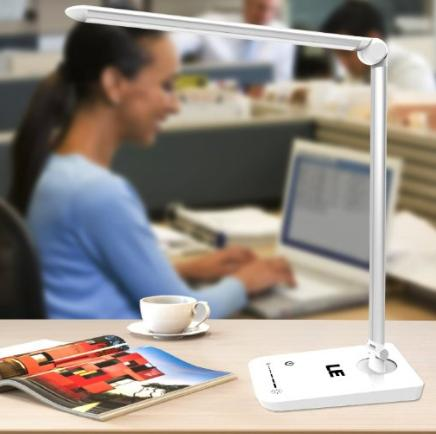 $20.49 LE® Eye-care Dimmable LED Desk Lamp, Rotatable, Daylight White, 7-Level Brightness, 8W