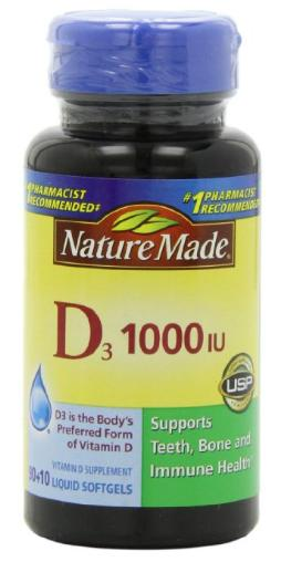 $3.32 Nature Made, Vitamin D3 1,000 I.u. Liquid Softgels, 100-Count