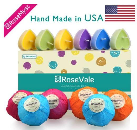 $8.99 RoseVale Bath Bomb Gift Sets - 100% Hand Made in USA with all Natural Ingredients