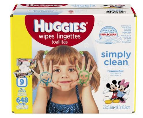 $11 HUGGIES Simply Clean Baby Wipes, Unscented, Soft Pack , 72 Count, Pack of 9 (648 Total)