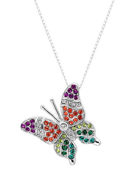 Butterfly Pendant with Multi-Color Swarovski Crystals