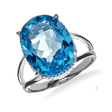 11.00 Carat Blue Topaz Ring in Sterling Silver