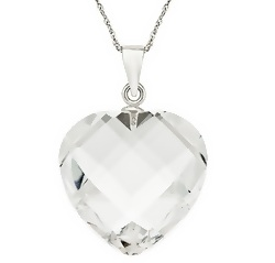 Crystal heart pendant with sterling silver chain + free shipping