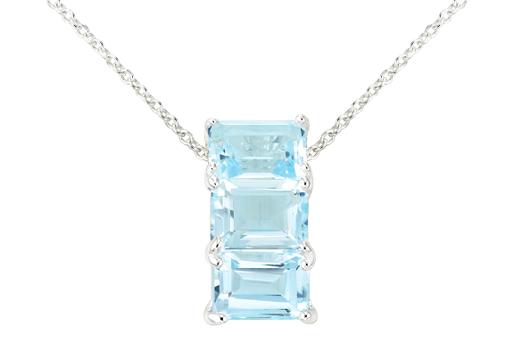 5 3/8 carat blue topaz sterling silver pendant w/chain + free shipping