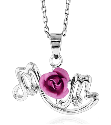 Sterling Silver Pink Flower & Diamond Accent Mom Necklace