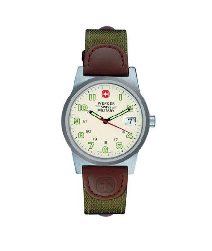 $71.99 Wenger Swiss Military Women's 72921 Classic Field Ivory Dial Canvas Leather Military Watch