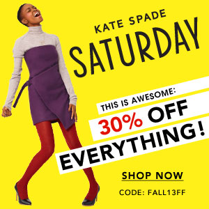 30% OffSitewide @ Kate Spade Saturday