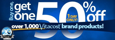 Buy 1, Get 1 50% OffOver 1,000 Vitacost Brand Products @ VitaCost