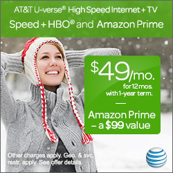 $49/month AT&T High Speed Internet + TV,  Includes HBO & A Year of Amazon Prime