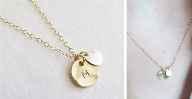 $7.99Gold Initial With Heart Necklace