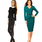 Senfloco Women's Vintage Long Sleeve V-Neck Office Business Party Bodycon Dress
