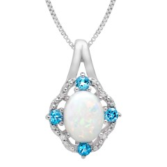 1 ct Created Opal and 1/6 ct Swiss Blue Topaz Pendant with Diamonds in Sterling Silver