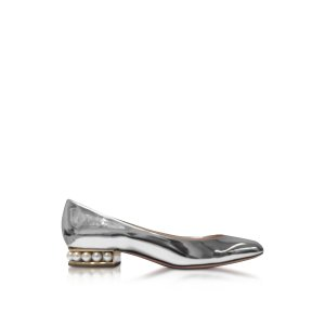 Nicholas Kirkwood Casati Silver Patent Leather Pearl Ballerina