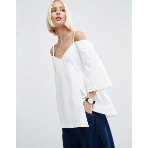 ASOS White | ASOS WHITE Wrap Cold Shoulder Top In Poplin