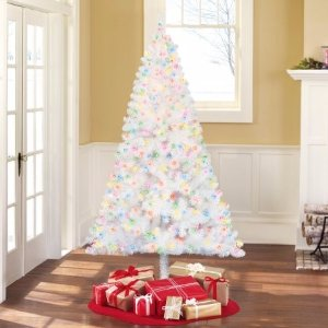 Holiday Time Pre-Lit 6.5' Madison Pine White Artificial Christmas Tree, Multi-Lights - Walmart.com