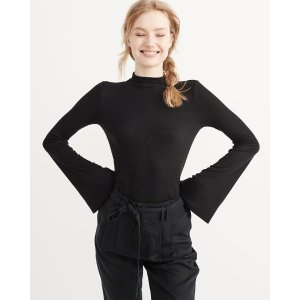 Womens Mock Neck Bell Sleeve Top | Womens Summer Sale Styles | Abercrombie.com