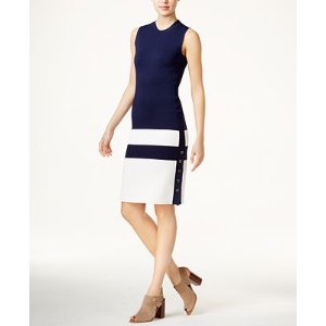 Tommy Hilfiger Colorblocked Sweater Dress, Only at Macy's - Dresses - Women - Macy's