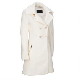 FAMOUS MAKER DOUBLE-BREASTED BOILED WOOL-BLEND COAT W/ METALLIC ACCENTS